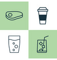 eating icons set collection of beverage mocha vector image vector image