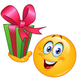 emoticon with gift vector image vector image