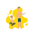 father spend time with son dad and son getting vector image vector image