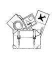 figure backpack with camera and picture to journey vector image vector image