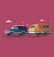 flat style on road trip trailering vector image