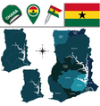 Ghana map with named divisions vector image vector image