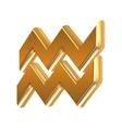 Golden zodiac sign Aquarius vector image vector image