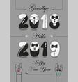 goodbye 2018 hello 2019 tuxedos numbers vector image