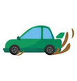 green car on white background vector image vector image