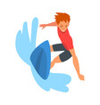 guy riding on ocean wave surfer character in vector image vector image
