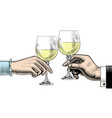 hands clink glasses with wine vector image vector image