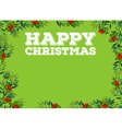 Happy Christmas sign with mistletoes vector image