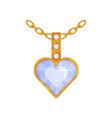 heart shaped pendant with diamond fashionable vector image