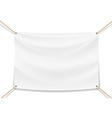 image of a white banner with ropes vector image vector image