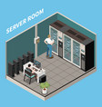 isometric datacenter composition vector image vector image