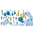 isometric people in motion young entrepreneurs vector image vector image