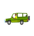 journey in green vehicle driver in car vector image