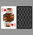 king of diamonds playing card and the backside vector image vector image