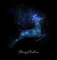 merry christmas blue glitter reindeer shape card vector image vector image