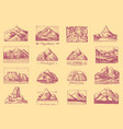 mountain peaks badges set labels for camping vector image