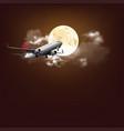 plane across full moon vector image vector image