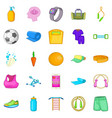 public gym icons set cartoon style vector image vector image