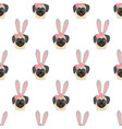 pug with rabbit ears seamless pattern vector image vector image