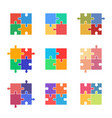 puzzle icon set jigsaw colorful pieces vector image