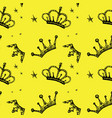 seamless pattern crown on a yellow background vector image