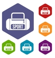 Sports bag icons set vector image