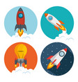 start up launcher set rockets vector image