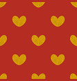 tile pattern with golden hearts on red background vector image