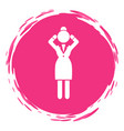 tired businesswoman logo in pink circle headache vector image vector image