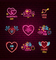 valentine day neon label set vector image vector image