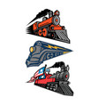 vintage steam locomotive mascot collection vector image