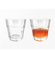 whiskey glass realistic vector image vector image