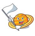 with flag planet saturnus mascot cartoon vector image vector image