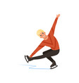 young figure skater man skating male athlete vector image vector image
