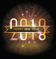 2018 happy new year gold numbers design with vector image