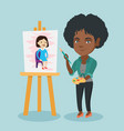 young african-american artist painting a portrait vector image