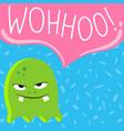 cute cartoon screaming monster with speech vector image