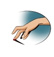 Vintage style Female finger presses the button vector image