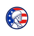 american nurse wearing mask side usa flag mascot vector image vector image