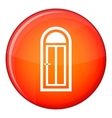 Arched wooden door with glass icon flat style vector image vector image