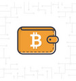 brown bitcoin wallet with coin on white bac vector image vector image