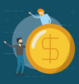 business men holding dollar coin vector image vector image
