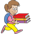 Cartoon Girl Carrying Books vector image vector image