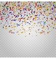Colorful confetti on checkered background vector image vector image