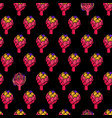 coloured artichoke seamless black pattern vector image