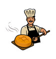 cook with bread bakery bakehouse bakeshop vector image vector image