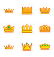 different crown icons set flat style vector image vector image