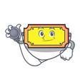 doctor ticket character cartoon style vector image