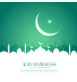 eid greeting background with mosque silhouette in vector image vector image