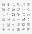 farming line icons set vector image